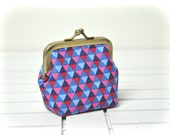 Coin Purse - Metal Frame Pouch - Small - Geometric triangles