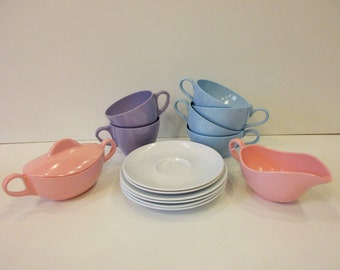 Vintage Colorful Mixed Lot of 15 Melamine Melmac Cups & Saucers, Sugar and Creamer