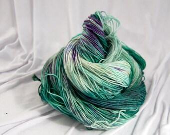 Merino Superwash Sock Yarn, Tourmaline, Hand Dyed