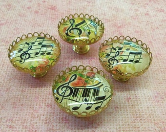 4 Drawer Pulls Music Notes Treble Clef Flowers Whimsical Glass Knobs Brass 35mm