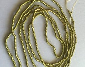 poison Green French Steel beads round smooth 34 inch strand rare color new dead stock antique