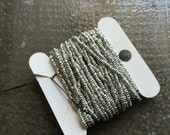 Precious antique Micro beads metal Made in France silver cut steel seed beads by the foot  12 inch strand