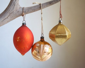 Vintage Christmas Ornaments. Orange and Gold Glass, Very Small, Frosted Glass, Shabby Chic Christmas Decor