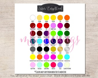 Siser EasyWeed Color Chart   Vinyl Color Chart   Use In Your Store For  Listings