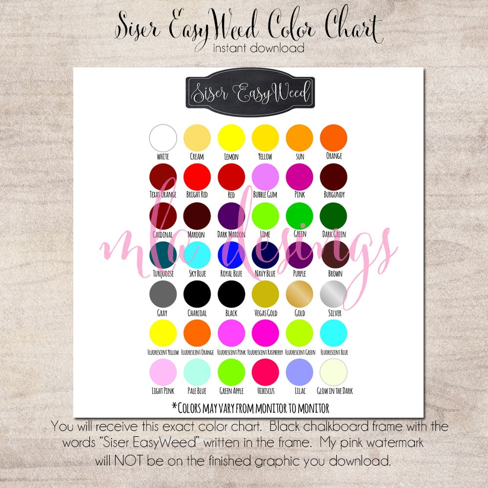 Siser Easyweed Color Chart Vinyl Color Chart Use In Your