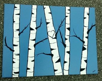 "BIRCH TREE ART- Original Initials Acrylic Landscape Painting, Birch Tree Art, 18"" x 24"" Modern Art, Custom Intials Birches."