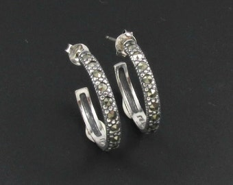 Sterling Silver Earrings, Marcasite Hoop Earrings, Marcasite Earrings, Silver Hoop Earrings, Medium Size Hoop Earrings
