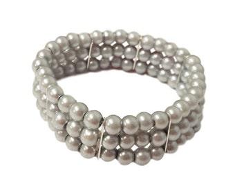 Silver Mist Pearl Bridesmaid Bracelet - Triple Strand Pearl Bracelet - Triple Row Silver Bracelet - Prom Stretch Bracelet