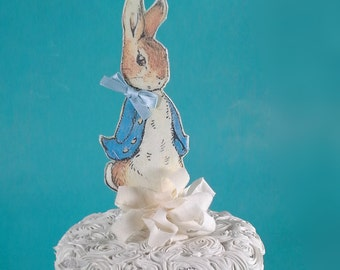 Shabby Chic Peter Rabbit cake topper, fabric Peter Rabbit birthday or shower party decoration L041