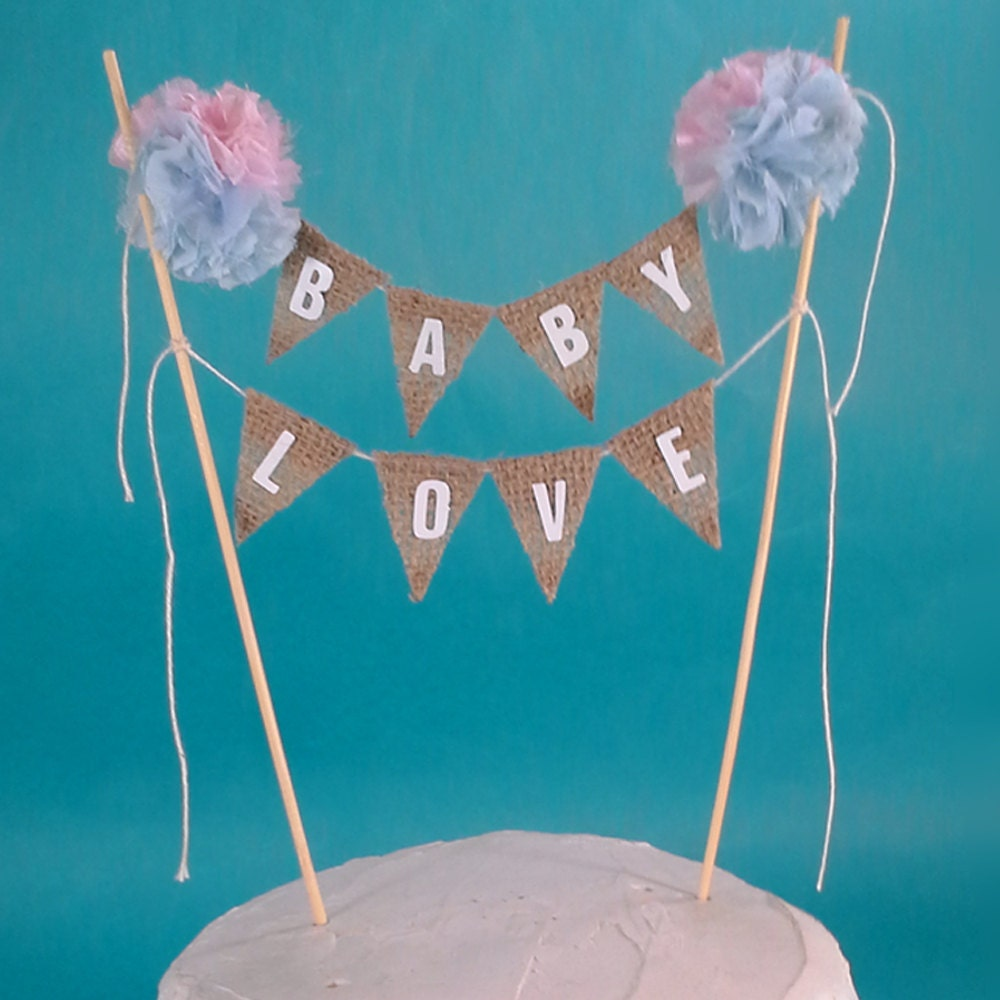 Burlap Cake Topper Pink Blue Baby Shower Baby Love G246 Baby