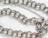 "7"" double link starter charm bracelet sterling silver w/ safety chain Blingschlingers jewelry adoption center"