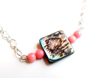 Dainty abalone shell bead necklace with pink coral beads-abalone shell-abalone necklace-abalone-coral-summer jewelry-spring-ocean jewelry