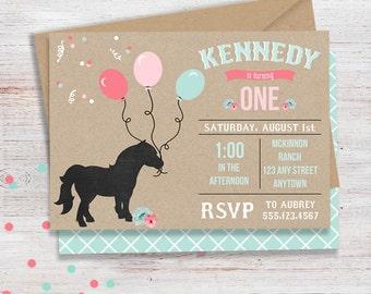 Pony and Balloon Birthday Party Invitation