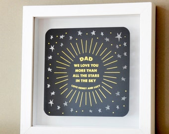 Framed Gift for Fathers Day Papercut with Gold, gift for dad, fathers day gift, gift from children to dad, personalized gift for dad,