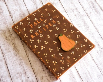 Pumpkin Recipe Journal handpainted in country style and Autumn colors with elastic closure