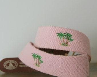 Vintage 1980s Preppy Pink Palm Tree Belt