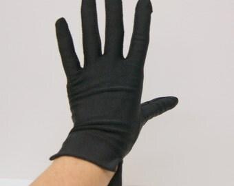 Vintage Black 7 Satin Stretchy Wrist Gloves