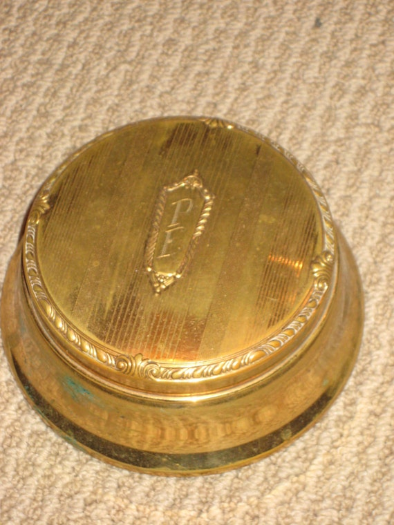 antique ring box jewelry box powder box monogramed by
