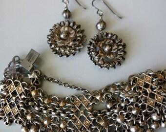 Vintage Gypsy Dangle Bracelet Earrings Silver Gold