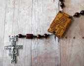 Black and Brown Franciscan Crown Rosary of Mahogany Obsidian with Canticle of the Sun Center and San Damiano Cross