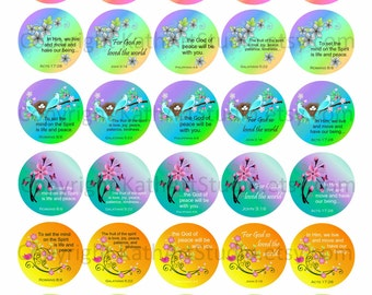Instant Download - Scripture Bible Verses Collage Sheet - 1.5 inch circles for glass tile pendants, hair bows, magnets, key chains 333