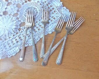 Vintage Silver Plate Forks Tarnished Flatware 6 pc