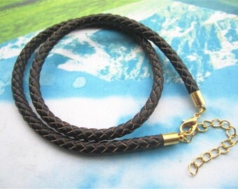 New come-- 5pcs 14-20 inch for your choose 5mm brown braided GENUINE(REAL) leather choker necklace cords with gold plated finish