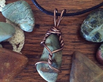 Beautiful Jasper Wire Wrapped Pendant Necklace