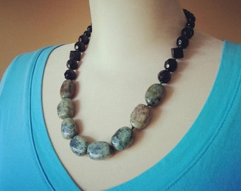 FREE SHIPPING African Opal and Onyx Statement Necklace