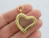 1 Heart floating charm pendant gold tone M672