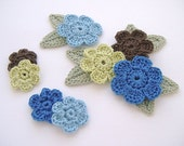 8 Blue Boutique Mix Crochet 6-Petal Flower Embellishments w/ Leaves Handmade Scrapbook Fashion Accessories Applique - 16 pcs. (414-2)
