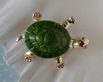 Vintage Turtle Brooch,Pin,Green Turtle