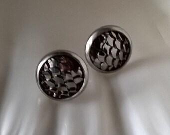 Mermaid Earrings,IRIDESCENT Mermaid Scales Stud Earrings, Dragon Scales,Gray Silver Black in Color
