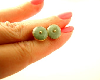 Jade Earrings - 14k Gold - Vintage