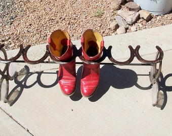 Boot Rack  Cowboy Boot Rack  3 Pair Horseshoe Boot Rack
