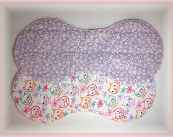 Baby Girl Burp Cloth Quilted Flannel Contoured Burp Cloth Set Cat and Flower Print Burp Cloth