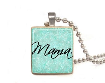 Blue Mama Necklace | Necklace for Mom | Mother's Day Gift | Mom Necklace | Mommy Necklace | Mama Pendant | Mama Charm | Mom Jewelry