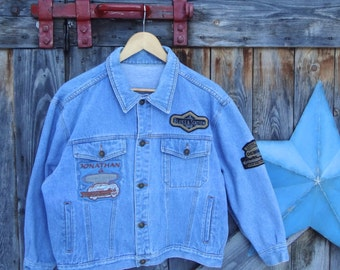 1990's, jean jacket, with patches, women's medium
