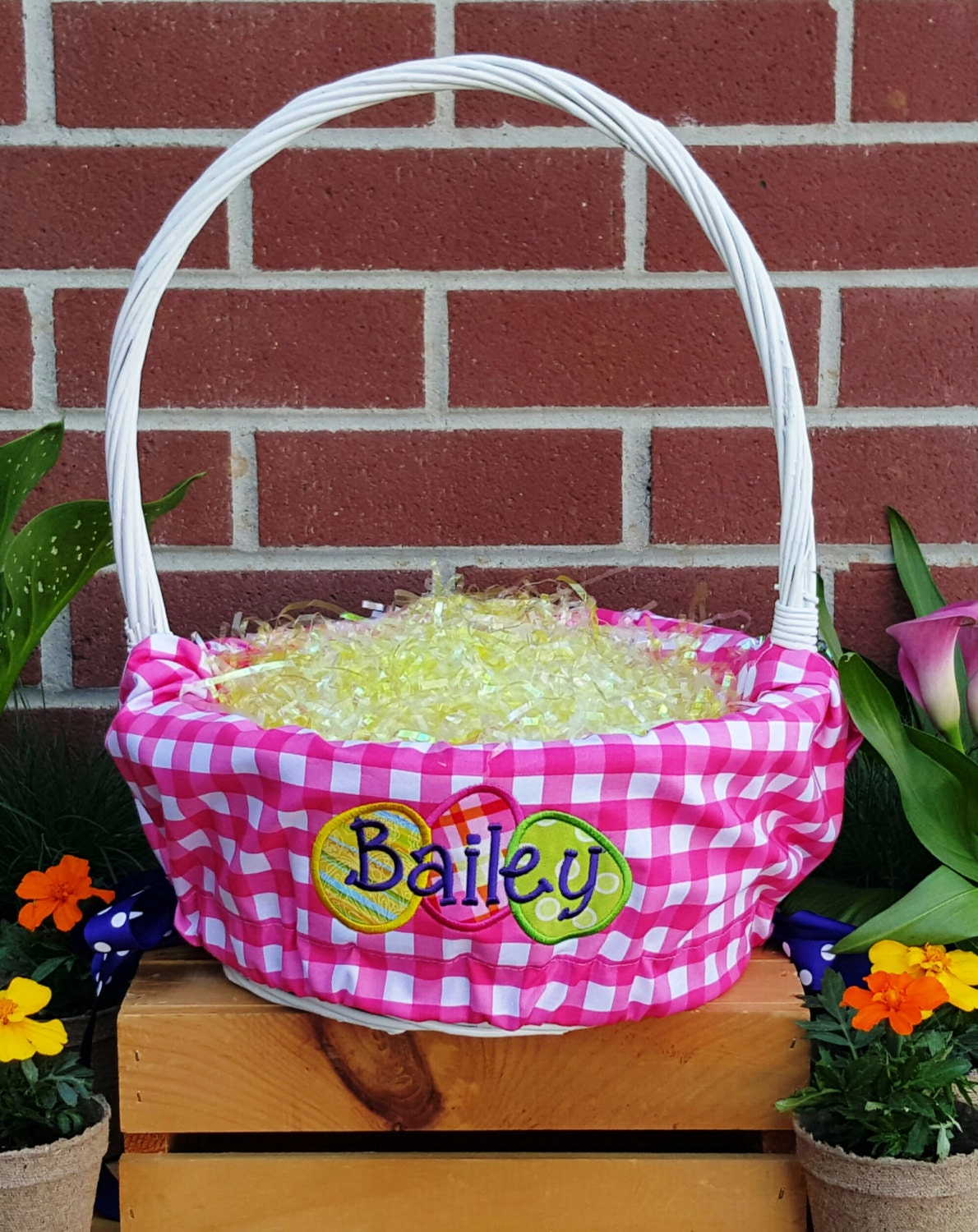 Personalized Easter Basket Liners For Girls Or Boys 5 Colors