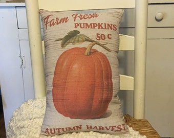 Vintage, Rustic, Farm Style, Pumpkin Decor, Pillow, Primitive Decor, Fall Decor, Fall Pillow