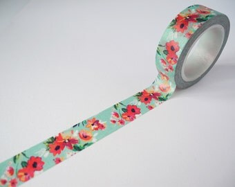 10 Meter Roll of Washi Duck Egg / Red Flowers Floral Print 15mm DIY Diary Deco Journal