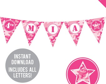 INSTANT DOWNLOAD Pink Camo Party - DIY printable pennant banner - Includes all letters, plus ages 1-18