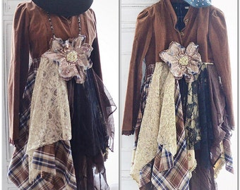 Boho kimono, Fall velvet flannel Bohemian jacket, Romantic festival Clothing, Gypsy chic Boho dresses, Shabby jacket, True rebel clothing