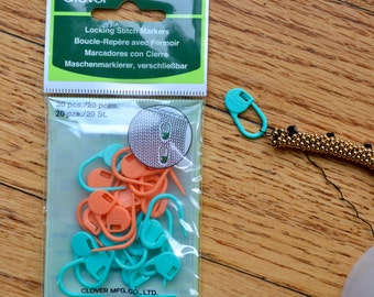 Locking Stitch Markers, 1 package Clover brand small size, 20 per package.  A must for every bead crochet project!