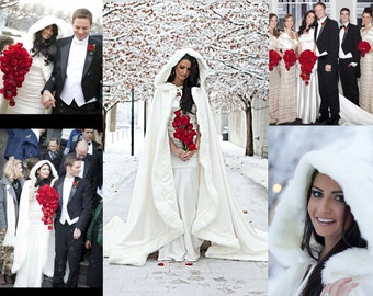 Winter Princess Wedding Cape 96 inch White / White Satin Bridal Cloak with Fur Trim Handmade in USA