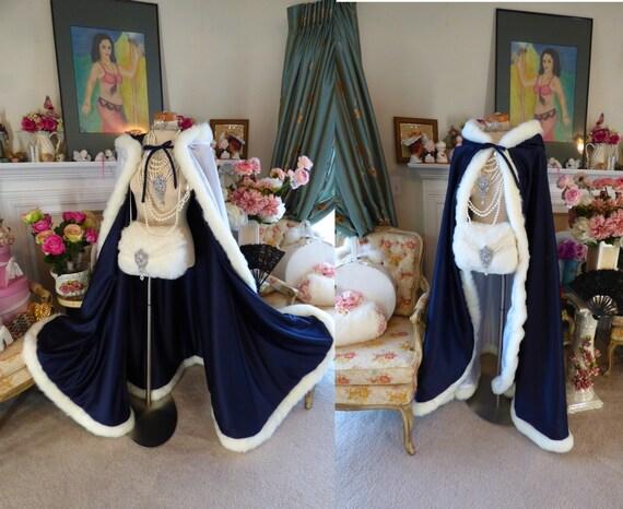 Frost Princess Bridal cape wedding cloak Navy Blue / White Satin, fur 52 inch Long Wrap Handmade in USA