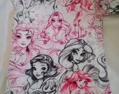 Disney Princess Pencil drawing Wet Bag - fits 2-3 diapers, 1-2 swimsuits, or a stanky gym outfit