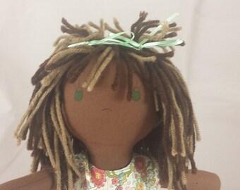 READY TO SHIP Rag Doll with dark skin tone, a mop of light & dark brown hair, green eyes, Cloth Doll, Plush Toy, Soft Doll, Fabric Doll