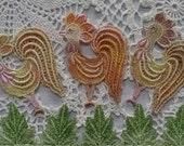 Vintage Belgian Lace Hand Dyed Venise Applique Embellishment for Crazy Quilt