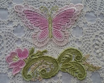 Easter Pink Butterfly Flower Lace Hand Dyed Venise Applique Embellishment